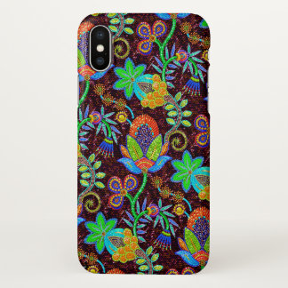 Colorful Floral Pattern Glass-beads Look iPhone X Case