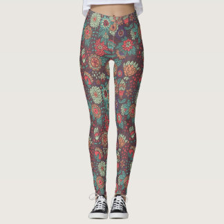 Colorful floral pattern in cartoon style leggings