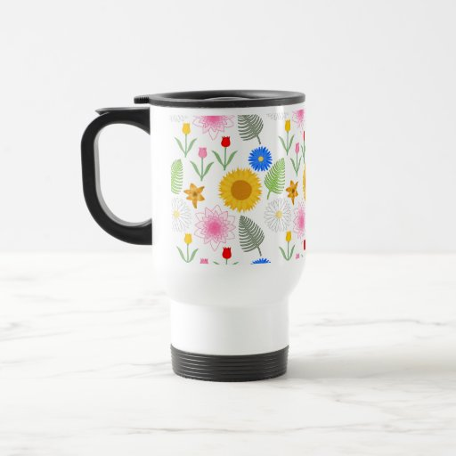 Colorful Floral Pattern on White. Coffee Mug