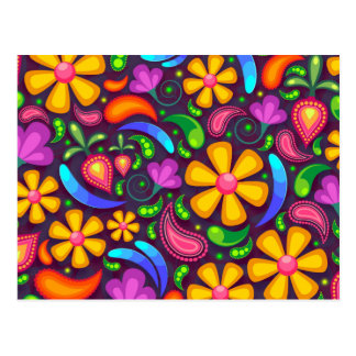 Colorful Floral Pattern Postcard