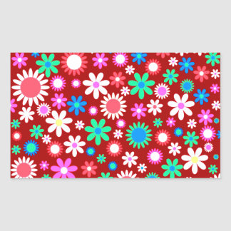 Colorful Floral Pattern Rectangle Sticker