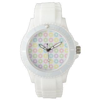 Colorful floral pattern watch