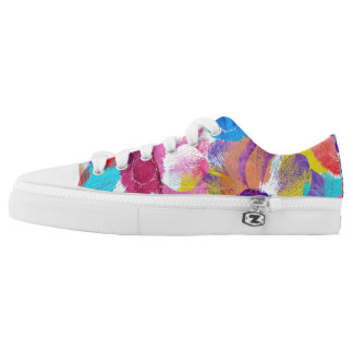 Colorful Floral Pattern with Anemone Flowers Low Tops