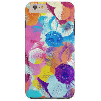 Colorful Floral Pattern with Anemone Flowers Tough iPhone 6 Plus Case