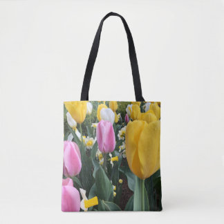 Colorful Floral Pink Yellow Spring Easter Tulips Tote Bag