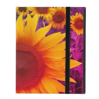 Colorful Floral Rainbow Sunflowers Harvest iPad Folio Case