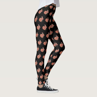 Colorful Floral Silhouette Bunny Rabbit Leggings