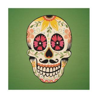 Colorful floral skull illustration wood print