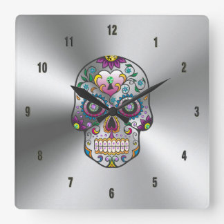 Colorful Floral Skull On Metallic Stainless Steel Square Wall Clock