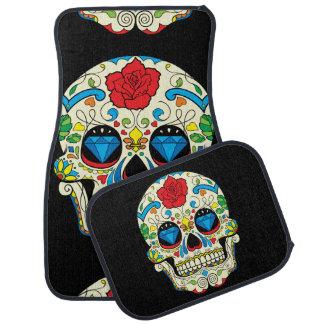 Colorful Floral Sugar Skull 2 Car Mat