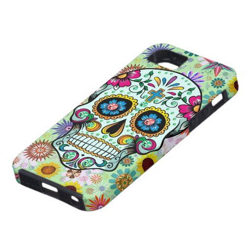 Colorful Floral Sugar Skull 3 & Diamonds Case For iPhone 5/5S