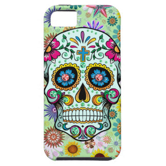 Colorful Floral Sugar Skull 3 & Diamonds Case For The iPhone 5