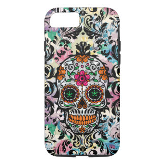 Colorful Floral Sugar Skull & Black Floral Swirls iPhone 8/7 Case