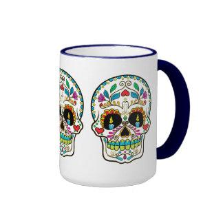 Colorful Floral Sugar Skull Burning Candles Ringer Mug