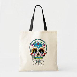 Colorful Floral Sugar Skull Design Tote Bag