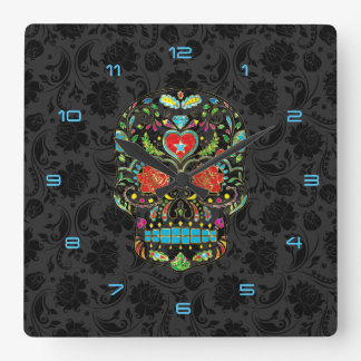 Colorful Floral Sugar Skull Glitter And Gold 2 Square Wall Clock