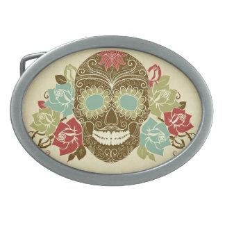 Colorful Floral Sugar Skull Oval Belt Buckle