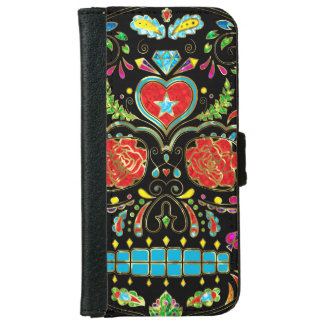Colorful Floral Sugar Skull With Red Roses iPhone 6 Wallet Case