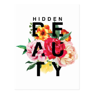 Colorful Floral Typography Hidden Beauty Postcard