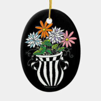 Colorful Floral Vase Ceramic Oval Decoration