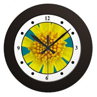 Colorful Floral Yellow Wildflower Modern Digits Wallclock