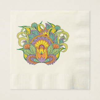 colorful floral zen composition disposable napkins