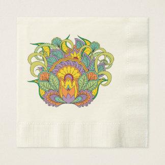 colorful floral zen composition disposable serviette