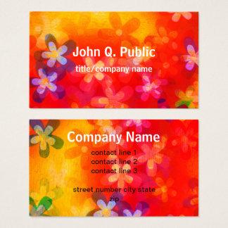 colorful flower art business card custom template