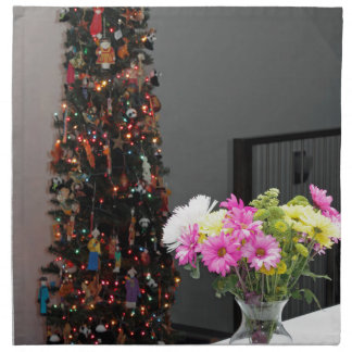 Colorful Flower Bouquet and Christmas Tree Napkin