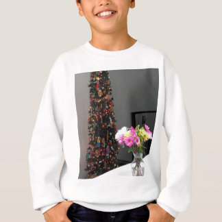 Colorful Flower Bouquet and Christmas Tree Sweatshirt