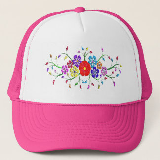 colorful flower bouquet trucker hat