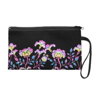 Colorful flower garden wristlet purse