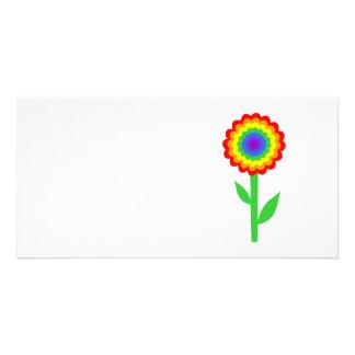 Colorful flower in rainbow colors. custom photo card