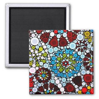 Colorful Flower Mosaic Circles Bubbles Design Refrigerator Magnet