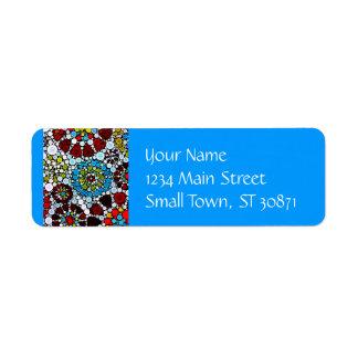 Colorful Flower Mosaic Circles Bubbles Design Return Address Label