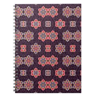 Colorful Flower Pattern on Dark Purple Notebook