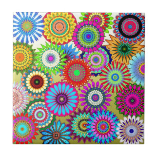Colorful flower pattern small square tile