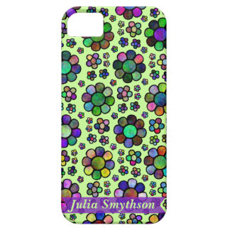 Colorful Flower Pattern Tie Dye Personalized Green iPhone 5 Cases