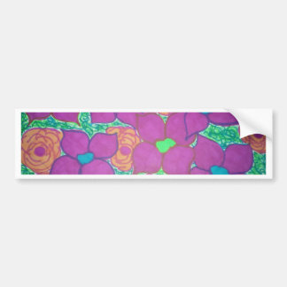 Colorful Flower Pattern Tropical Art Bumper Sticker
