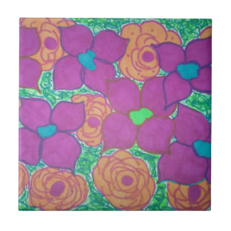 Colorful Flower Pattern Tropical Art Small Square Tile