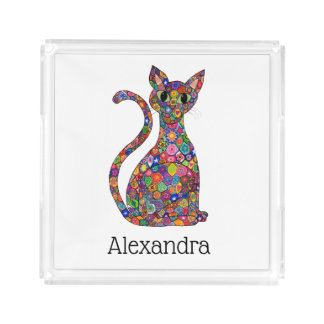 Colorful Flower Patterned Cat Monogram Name Acrylic Tray