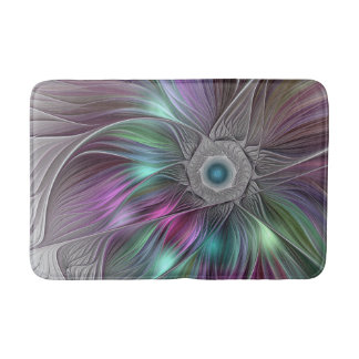 Colorful Flower Power Abstract Modern Fractal Art Bath Mat