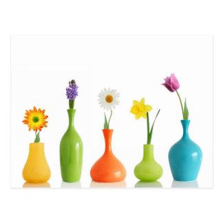 Colorful Flower Vases Postcard