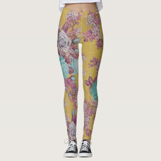 colorful flower yellow  decorative floral leggings