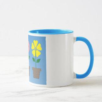 Colorful flowerpot design on coffee mug