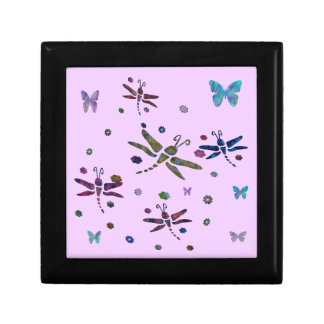 colorful flowers and dragonflies gift box