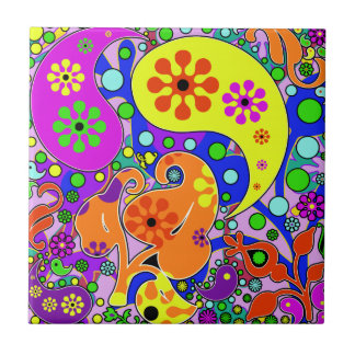 Colorful Flowers And Paisley Pattern Trivet Small Square Tile