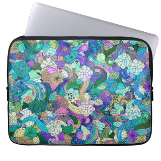 Colorful Flowers And Swirls Collage Laptop Sleeve