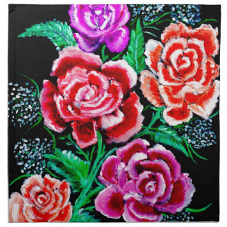 Colorful Flowers Art Napkin