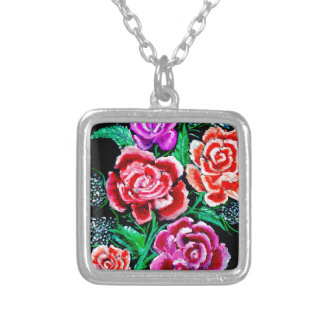 Colorful Flowers Art Silver Plated Necklace